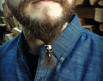 Dwarvendom Beard Bead Kit STAINLESS STEEL large skull viking beard rings beard kit goth norse celtic silver pirate jewelry mens jewelry