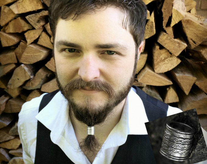 Featured listing image: Beard Bead Kit 'Algrim' TIBETAN ALLOY beard rings viking beard bead dwarf viking biker beard care beard style beard kit