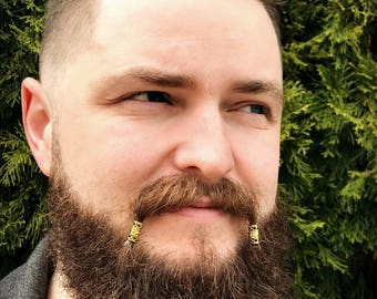 Dwarvendom Mustache Bead Kit #3 beard beads viking beard rings biker Celtic mustache beads mustache kit norse mens jewelry