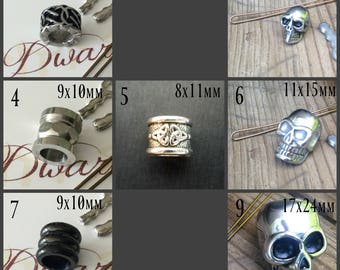 Dwarvendom single Beard Beads Stainless Steel and Zinc Alloy (without kits) Viking beard rings skull rings viking jewelry mens jewelry
