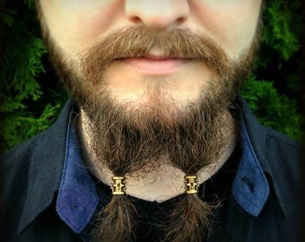 Beard Bead Kit 'Brondin' goldtone TIBETAN ALLOY beard rings Viking beard bead beard styles Celtic beard bead beard kit