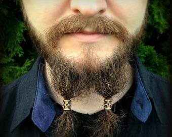 Dwarvendom Beard Bead Kit gold TIBETAN ALLOY Viking beard rings Celtic norse pirate dwarven beard kit mens jewelry
