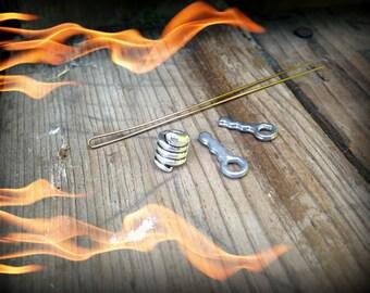 Dwarvendom Coiled Snake Beard Bead Kit TIBETAN ALLOY silver Viking beard rings norse celtic rune pirate biker mens