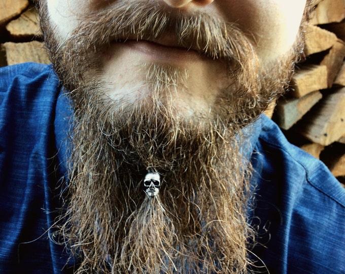Featured listing image: Beard Bead Kit 'Shrunken Head' STAINLESS STEEL beard rings skull viking beard bead beard care goth hair bead