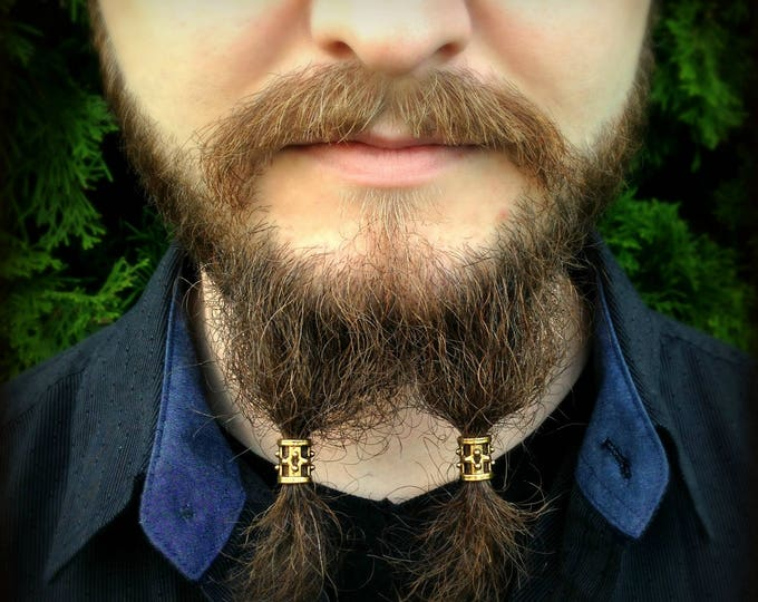 Featured listing image: Beard Bead Kit 'Brondin' goldtone TIBETAN ALLOY beard rings Viking beard bead beard styles Celtic beard bead beard kit