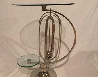 Mid Century Modern Atomic Chrome & Glass Side Table