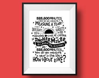 Rent: Seasons Of Love   Broadway, Musical Theatre, Typography Printable, Instant Digital Download, Wall Art Print, 8x10