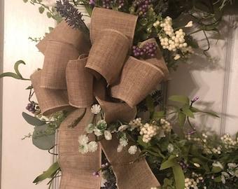 Burlap bow, Country, Farm house Wreath Bow, Linen wired burlap ribbon, Year round decor, Lantern Bow