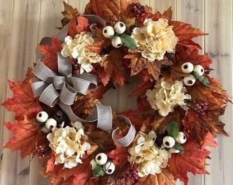 Fall wreath, Autumn Wreath, Ivory Hydrangea wreath, Fall Berries and Maple leaves, Burlap Bow, Farm house Wreath, front door