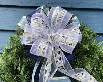 Glittery Lace Bow, Sparkle  Bow,  Blues and White Holiday Bow, Elegant Bow, Hanukah Bow, Sheer Glitter ribbon