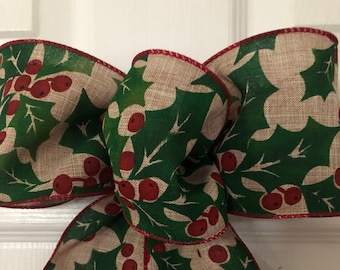 Holly and Berries Christmas Bow, Holly trimmed Burlap Bow, Country Christmas  Wreath Bow, Lantern Bow