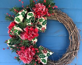 Holly berries Winter Wreath, Christmas Wreath, Snow tipped hydrangeas and red berries wreath, Burlap  Holly Bow, Farm house Wreath