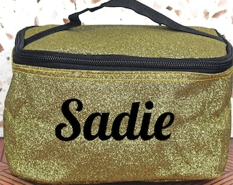 Gold Glitter Make up bag, Glitter Cosmetic bag,  Cheer, Dance, Bridesmaids, *Personalize*