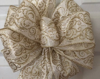 Glitter Gold and Sparkle Swirl Bow, Royalty, Elegant Glitter Bow,   Ivory and Gold glitter Wreath Bow, Lantern Bow