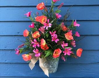 Wild Flower Front door Basket, Poppies and Nerine Lilies ,  Galvanized tin Bucket Front door Wreath, Country Basket, Wall Basket