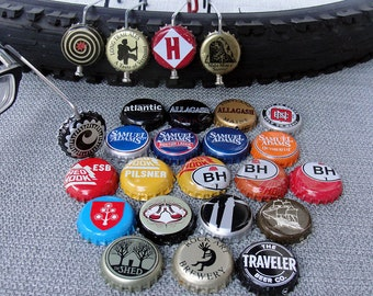Beer View Mirror (New England): Bicycling mirror made with Bottle Cap, Spoke, & Acrylic Mirror