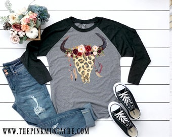 9ea27418 Boho Cheetah Skull with Flowers and Feathers T-Shirt / Raglan / Youth and  Adult Sizing