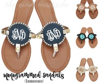 dda2549d3d6d6 Monogrammed Medallion Sandals - Embroidered Flip Flops