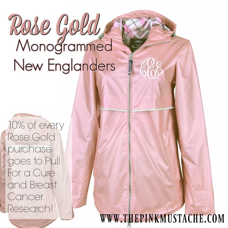 74817858b Rose Gold Monogrammed Rain Jacket / Rose Gold Charles River New Englander  Rain Jacket / Monogrammed New Englander