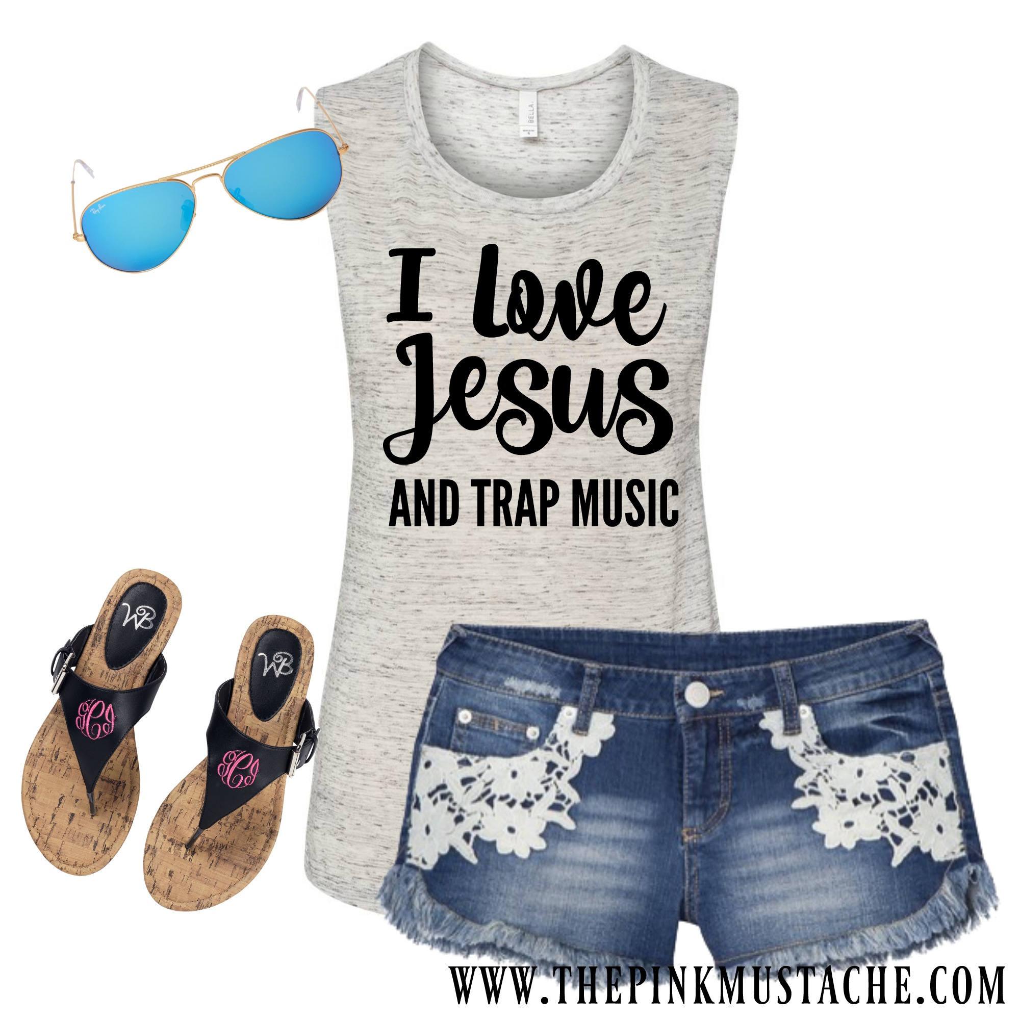 Ich liebe Jesus und Trap Musik Muskel Tank / Funny Workout