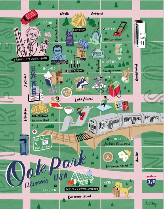 Oak Park Chicago Map.Illustrated Oak Park Map Print Etsy