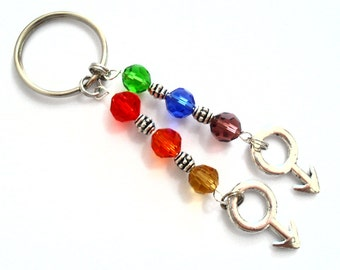 Gay Pride Keychain, Gay Couple Crystal Keychain, Gay Love Rainbow Jewelry, Gifts for Gay Men, Gay Relationship Male Symbols Car Accessories