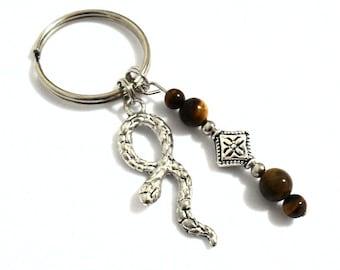 Snake Keychain, Snake Charm Keychain, Snake Pendant Key Chain, Snake Jewelry, Car Accessories, Pet Snake Gifts, Tigers Eye Beaded Keychain