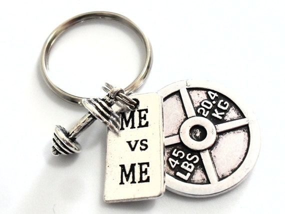 Me Vs Me Barbell Keychain,Workout Gift,Weightlifting Gym Motivation Gift,Weight Plate 25 LBS Charm