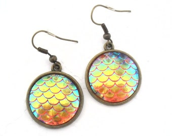 Mermaid Scales Earrings in Bronze Tone, Summer Holiday Beach Vacation Accessories, Iridescent Beach Jewelry Fantasy and Mythical Accessory