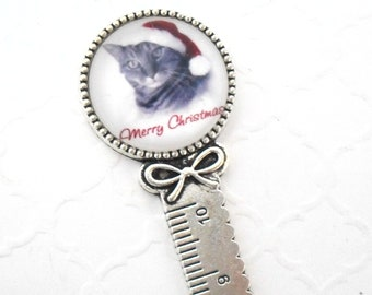 Christmas Cat Ruler Bookmark, Cute Cat with Hat Metal Paper Accessories, Merry Christmas Kitty Book Accessory, Holiday Cat Theme with Bow