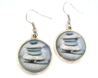 Balanced Stone Earrings with Grey Glass Dome Image, Zen Jewelry Accessories with Gray Stones, Spiritual Healing and Positive Growth