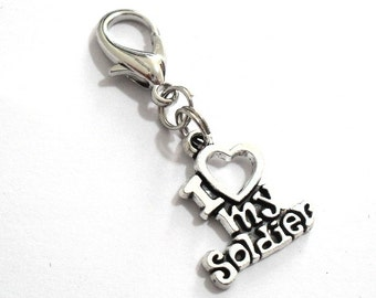 Soldier Zipper Pull, I Love my Soldier Keyring Charm, Soldier Husband Keychain Clasp, Army Soldier Jewelry, War Veteran Zipper Clasp Clip