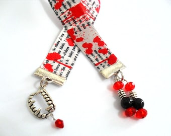 Bloody Ribbon Bookmark, Blood Stained Newsprint Ribbon, Vampire Teeth Halloween Ribbon Bookmarker with Red and Black Beads, Fangs Charm Gift