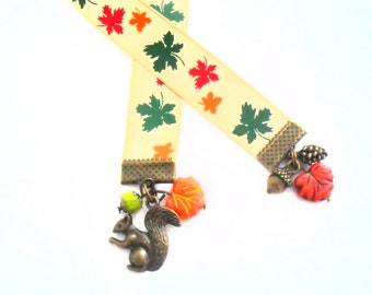 Autumn Beaded Bookmark with Fall Colors on Maple Leaf Ribbon, Bronze Squirrel Charm with Acorn and Pinecone Charms, Czech Glass Beads