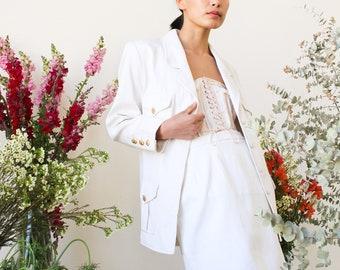 vintage 1980s white chanel silk suit set
