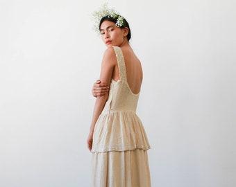 vintage 1940s ecru ticking beaded peplum gown