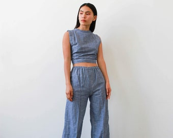 vintage 1970s deadstock indian chambray pant set