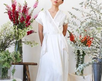 vintage 1940s liquid satin white wrap gown