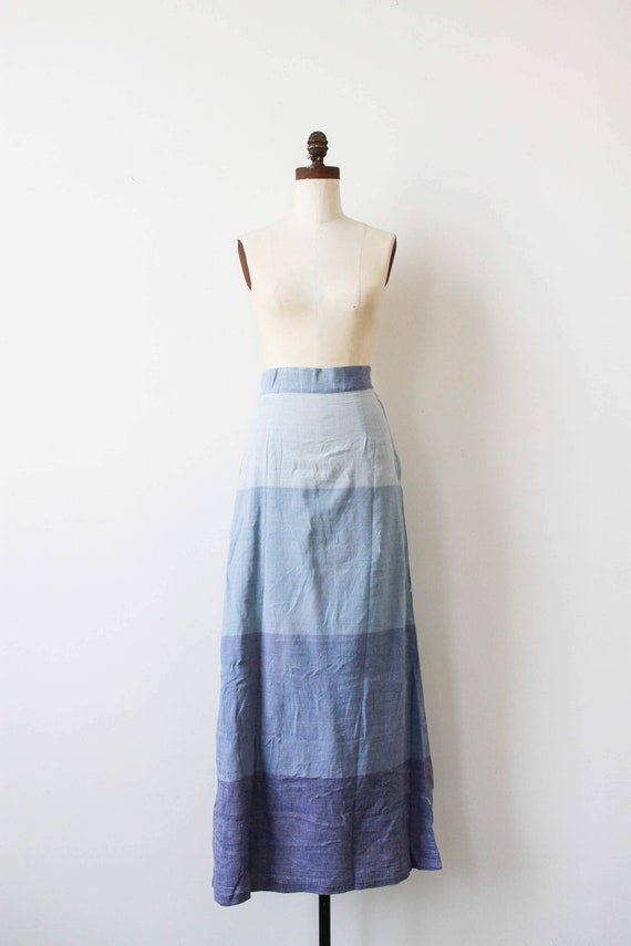 vintage 1970s deadstock cotton ombre maxi skirt