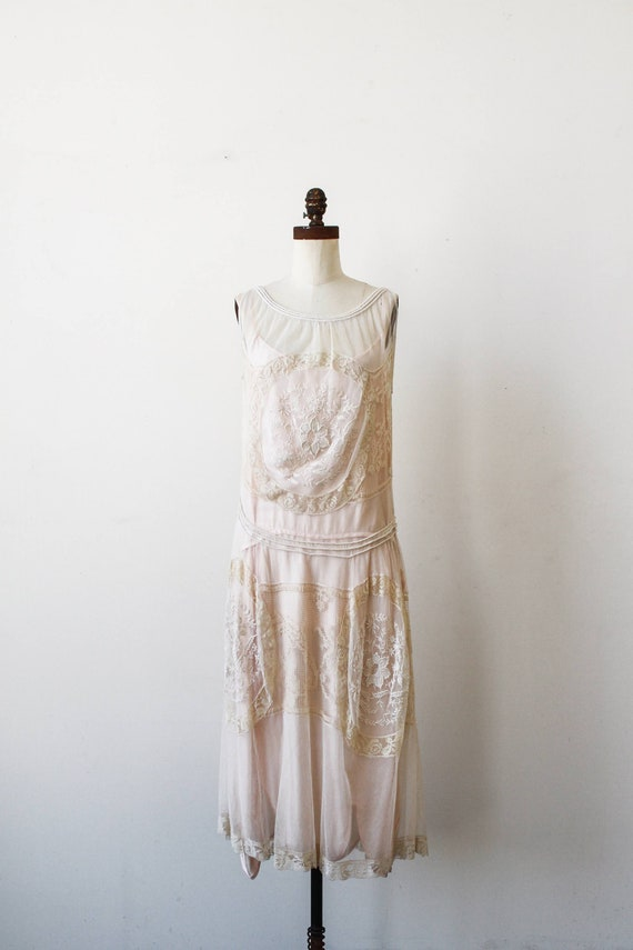 vintage 1920s net lace medallion embroidered dress