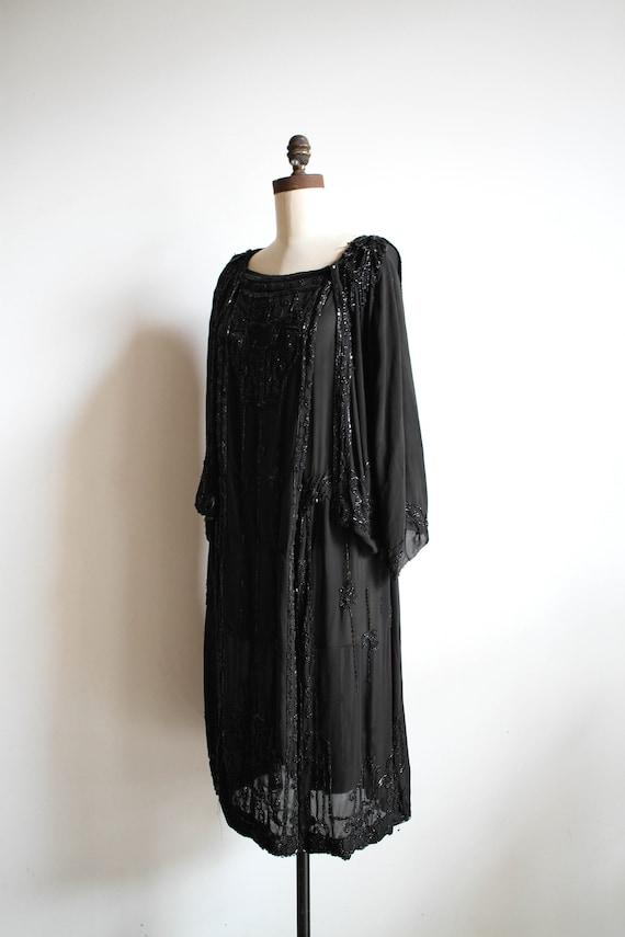 antique edwardian chiffon layered beaded dress
