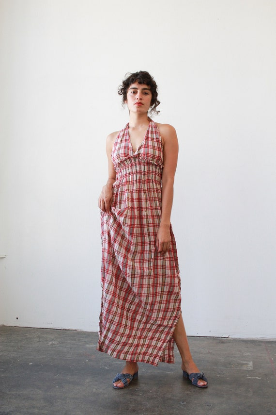 vintage 1970s deadstock indian plaid gauzy halter