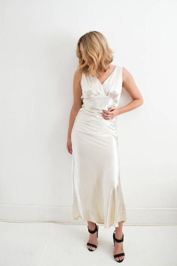 vintage 1930s liquid satin bias cut gown XS-M | Etsy