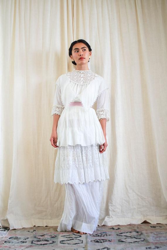 antique edwardian cotton voile white tiered weddi… - image 2