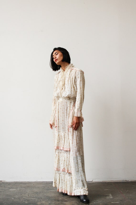 antique edwardian ecru floral print dress