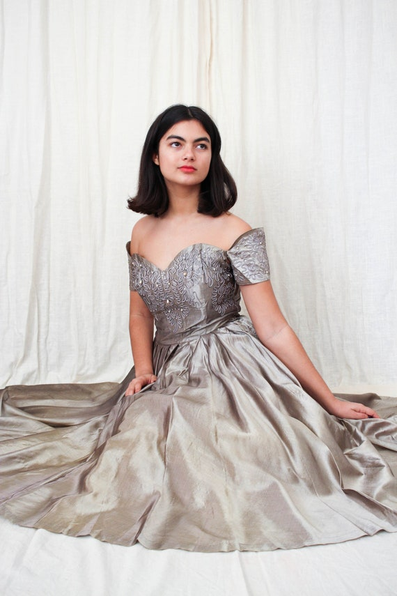 vintage 1940s iridescent grey rhinestone ball gown