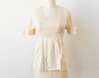 vintage 1970s deadstock eyelet gauzy blouse