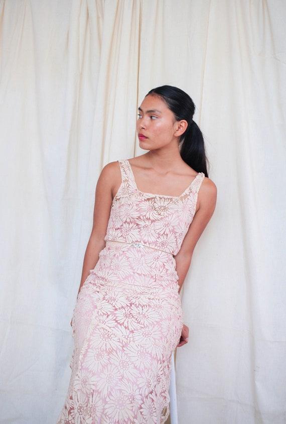 vintage 1930s art deco pale pink floral lace gown