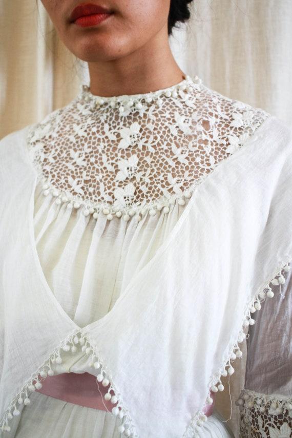 antique edwardian cotton voile white tiered weddi… - image 8