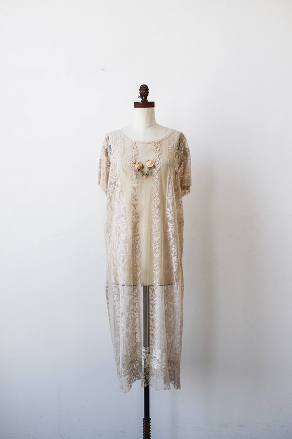 vintage 1920s ecru net lace embroidered dress